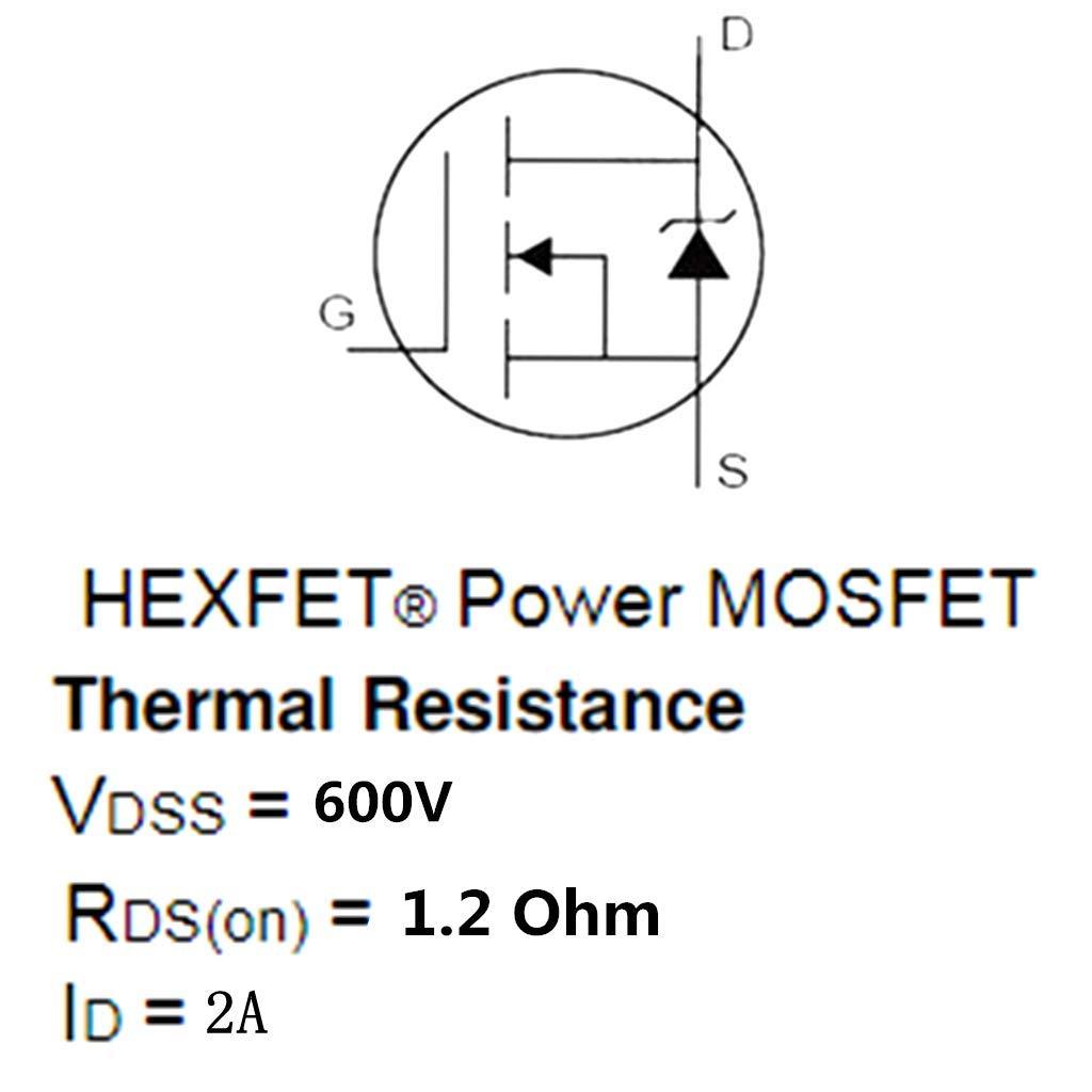 Almencla 10PCS 2A 600V MOSFET Field Effect Transistor