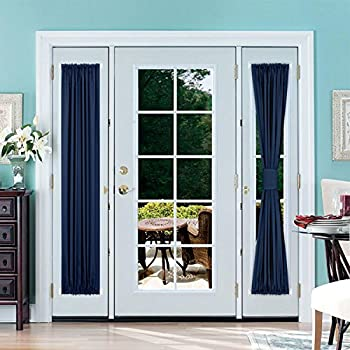 Deconovo French Door Curtains Room Darkening Thermal Insulated Blacktout Curtains for Door 25x72 inch Navy Blue & Amazon.com: Navy Blue Sidelight Door Panel - Window Treatment ...