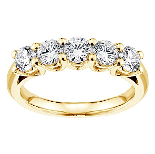 1.00 CT TW Brilliant Cut Large Diamond Wedding Band in 18k Yellow Gold V Prong Setting