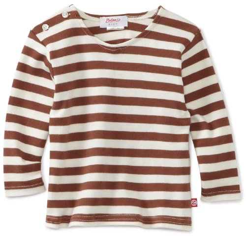 Zutano Unisex-baby Infant Primary Stripe Long Sleeve T-Shirt, Chocolate/Cream, 6 Months