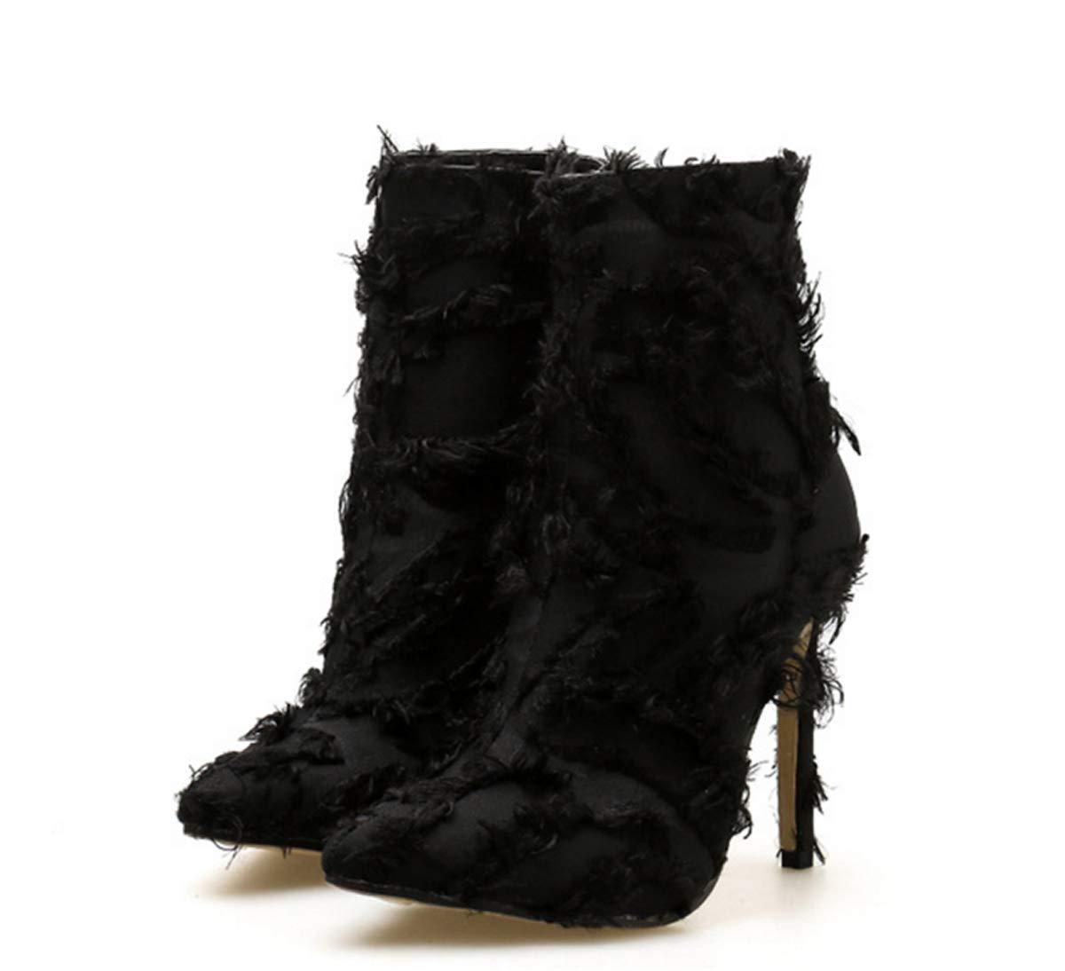 LBTSQ-Mode/Damenschuhe/Schwarz Mit Hohen 12Cm Grate Spitz Sexy Kleidung Kurze Stiefel.
