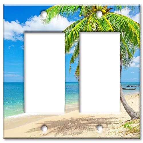 - Art Plates 2 Gang Decora - GFCI Wall Plate - Palm Tree on the Beach