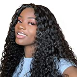 ISEE Hair 150% Density Brazilian Deep Wave Lace Front Wig Glueless Lace Front Human Hair Wigs For Women Black Pre Plucked Unprocessed 8A Virgin Brazilian Hair Wig (22''13x4 Lace Front Wig)