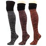 Wool Over-The-Knee High Socks Women Thick Leg warmer Knit Winter Leggings Boots (A-Muti-pack 3pair)