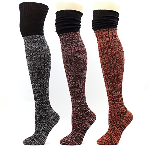 Wool Over-The-Knee High Socks Women Thick Leg warmer Knit Winter Leggings Boots (A-Muti-pack 3pair)