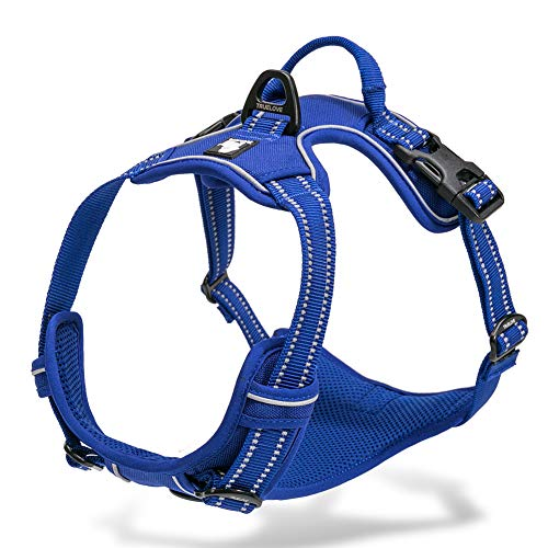 Chais Choice Best Outdoor Adventure Dog Harness. 3M Reflective Vest with Handle and Two Leash Attachments.Caution Please Use Sizing Chart at Left Before Ordering! Matching (X-Small, Royal Blue)