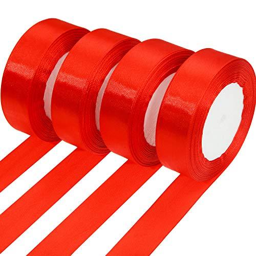 100 Yards Satin Ribbon Christmas Gift Wrapping Ribbon for DIY Gifts (25 mm, Red)