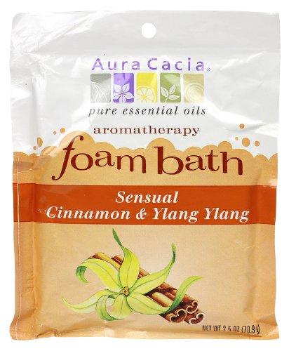 Aura Cacia Aromatherapy Foam Bath, Sensual Cinnamon and Ylang Ylang, 2.5 ounce packet (Pack of 3) (Aura Cacia Foam)