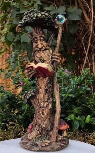 Miniature FAIRY GARDEN Standing Tree Man Figurine w Blue Orb Staff and Book by I.E.Y.online-store