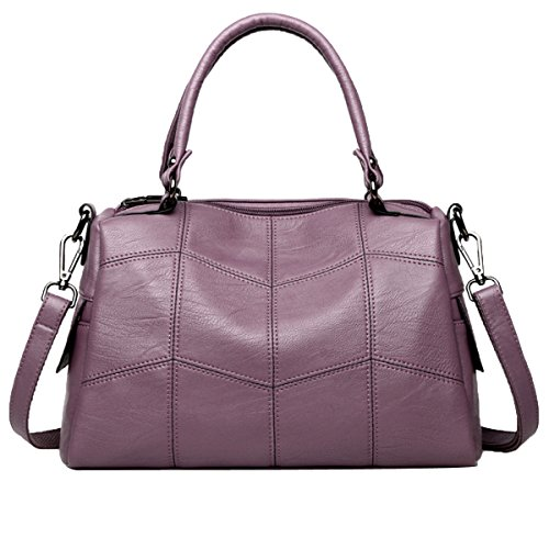Leather Shoulder Bags For Women Hand Bag Handbag High Set Purple
