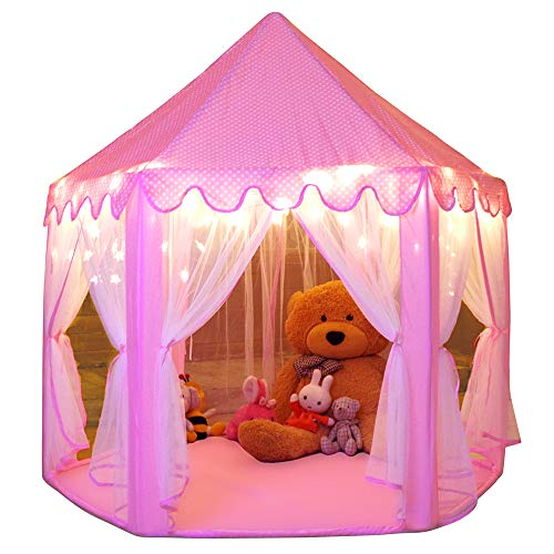 Monobeach Princess Tent Girls Large Playhouse Kids Castle Play Tent with Star Lights Toy for Children Indoor and Outdoor Games, 55