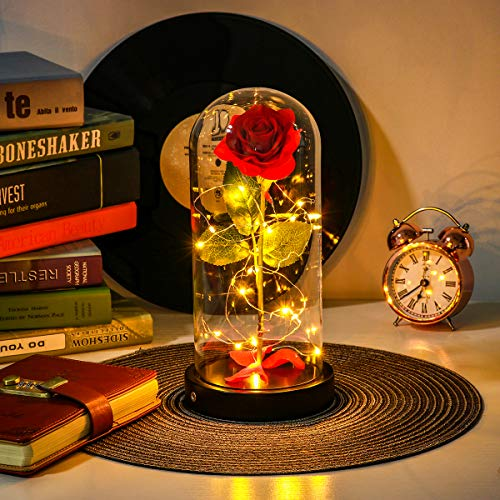 Forever Rose Flowers -2 Light Modes, USB Plug & Battery Powered, Artificial Red Enchanted Rose That Last Forever in Glass Dome with Gift Box & Cards, Best Gift for Her Mothers Day Wedding Anniversary