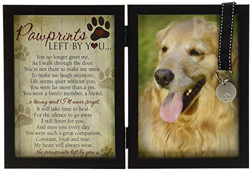 Pawprints Memorial Pet Tag Frame - Pawprints Left by - Dogs Paw Spaniel Print