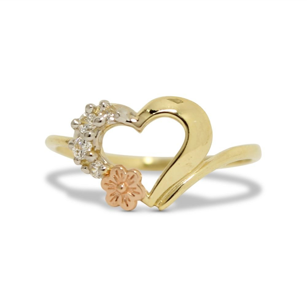 10k Yellow Gold Filigree White CZ Rose Flower Purity Ring Promise Band Size 9