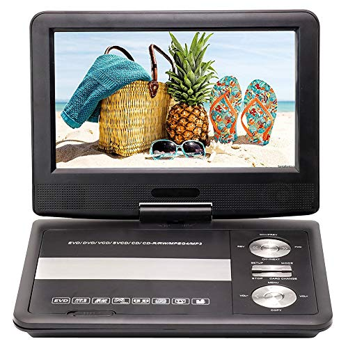 FFQNG Portable HD DVD Player, 9-Inch Video Player Learning Machine, 270° Rotating Screen, USB Mobile DVD Player