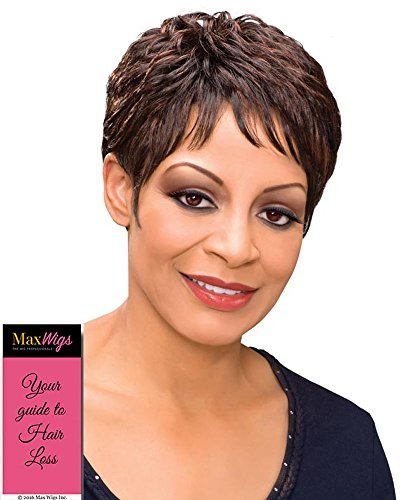 Etta Wig Color 1B - Foxy Silver Wigs Short Cropped Pixie Soft Waves Synthetic African American Wispy Bangs Women's Machine Wefted Lightweight Average Cap Bundle with MaxWigs Hairloss Booklet