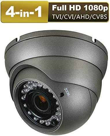 CCTV Camera HD 1080p 4-in-1 TVI AHD CVI CVBS Security Dome Camera Analog 2.8mm-12mm Varifocal Lens 100ft IR Indoor Outdoor Weatherproof IP66 Gray