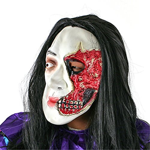 YUFENG Extremely Scary Rotten Face Halloween Mask with Black Charming Hair,Absolutely Screaming Halloween Prank Porps (Black long hair mask) (Halloween Full Movie Michael Myers 2017)