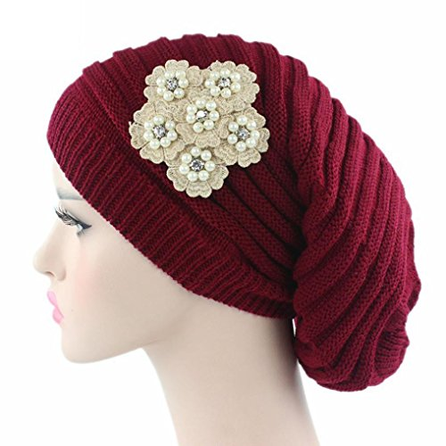 - Leoy88 Womens Knitting Casual Hat Beanie Turban Head Wrap Cap With Pearl Flower (Red)