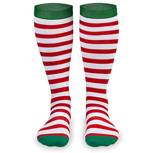 Red And White Christmas Stocking (Gone For a Run Knee High Half Cushioned Athletic Running Sock | Running Christmas Elf (Red and White Stripes/Green) one size fits)