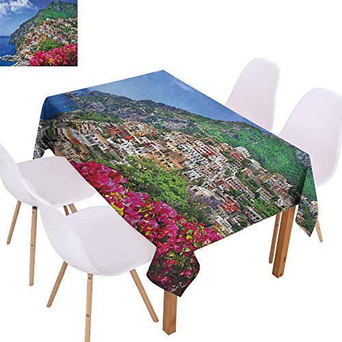 Marilec Waterproof Tablecloth Italy Scenic View of Positano Amalfi Naples Blooming Flowers Coastal Village Image Table Decoration W59 xL71 Pink Green Blue