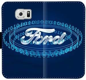 Logotipo de Ford caja del cuero R6Q7S Funda Samsung Galaxy S6 Edge funda C5Bs67 Teléfono Móvil Flip Funda Caso tienda