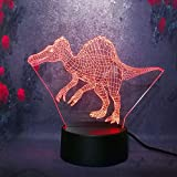 KUKULE 3D Night Light Jurassic Park Dinosaur Gigantspinosaurus 7 Color Change Remote/Touch Boy Birthday Gift Bedroom Light Boy Gift