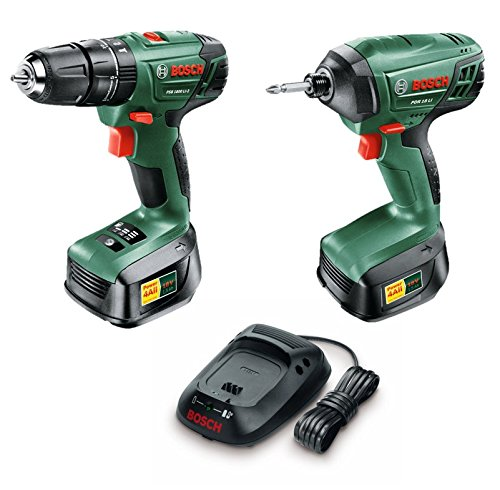 Bosch PSB 1800 LI-2 + PDR 18 LI Cordless Combi/Impact Drill Twin Pack with Two 18 V Lithium-Ion Battery 06039A337A