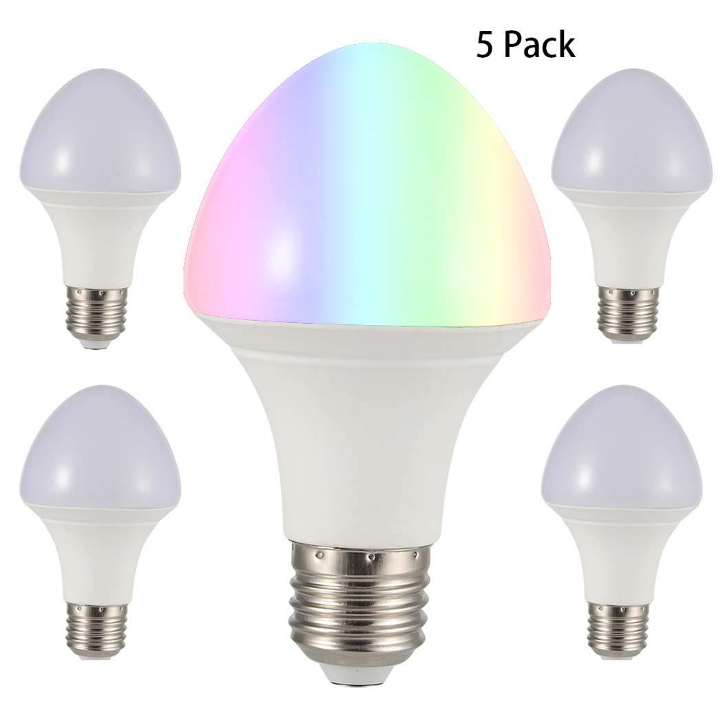 (5パック)E27 WiFi電球、スマートデバイス対応RGB調光対応LEDスマート電球ライトおよびAmazon Alexa&Googleホームによる音声制御ハブは不要   B07NWKHSWG