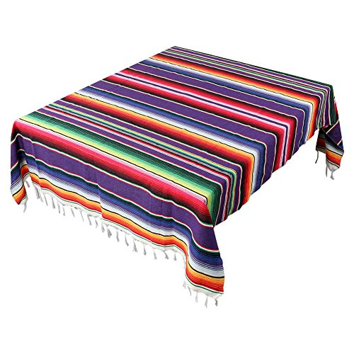 AerWo 59 x 84 Inch Mexican Tablecloth Mexican Serape Blanket for Mexican Party Wedding Fiesta Decorations Outdoor Picnics Dining Table Cover, Large Square Fringe Cotton Table Cloth]()