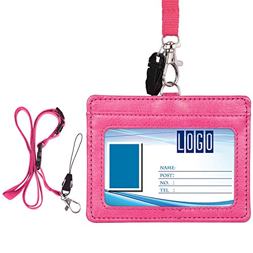 Wisdompro 2-Sided PU Leather ID Badge Holder with 1 ID Window and 1 Card Slot and 1 Piece 23 Inch Adjustable Polyester Detachable Neck Lanyard Strap (Holds 3 to 4 Cards)- Hot Pink (Horizontal)