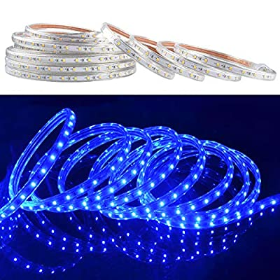 LED Rope Lights, 50ft Flat Flexible Light Strip, Blue, Water Resistant for Both Indoor/Outdoor Use, Inter-Connectable, UL Certified, Decorative Lighting for Any Location.