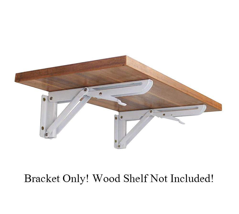 "2pcs White Metal Triangle Folding Shelf Bracket Support Wall Bracket Bench Table, Short Release Arm #81223 (16""(150x400mm,490g))"
