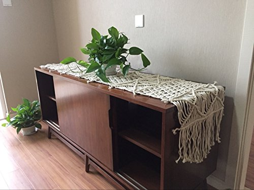 "RISEON Bohemia Handmade Natural Macrame Table Runner, macrame table placement, Macrame table Centerpiece, Bed Runner Wedding Home Boho Decor (13.7""W x 59""L)"