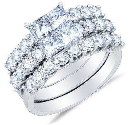 Sonia Jewels Size 7-14k White Gold Ladies Womens Invisible Set Diamond Bridal Engagement Ring W/Matching Wedding Band Set (2.0 cttw.) (Invisible Set Bridal Diamond)