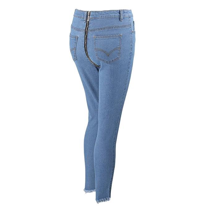 Hibote Jeans Mujer Pantalones Vaqueros de Cintura Alta elástico Pantalones Mezclilla con Cremallera Trasera Pantalones Vaqueros Sexy Casual