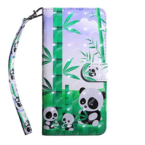 Bear Village Galaxy S10 Case, PU Leather Book Style Cover with Card Slots, 3D Pattern Design Wallet Flip Case for Samsung Galaxy S10 (#10 Panda)