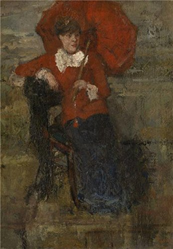 'James Ensor - The Lady With Red Parasol,1880' Oil Painting, 16x23 Inch / 41x59 Cm ,printed On Perfect Effect Canvas ,this Replica Art DecorativeCanvas Prints Is Perfectly Suitalbe For Gym Artwork And Home Artwork And Gifts]()