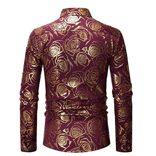 S Uomo Colletto Rosso Camicia Oro Slim Ttmall Vestibilità Stampa Primavera T Autunno Da Tempo Libero xl Maniche E Dritto shirt A Lunghe 1tHtwfqEx
