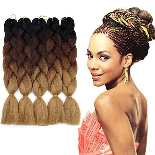 Synthetic Braiding Hair Extensions Kanekalon Hair Ombre Twist Braiding Hair High Temperature Hair Extensions 5Pcs/Lot 24