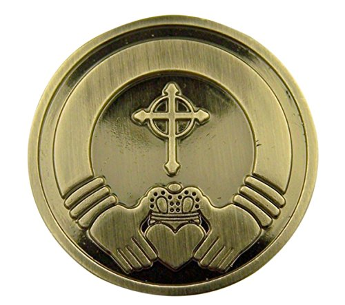 Silver Tone Faithful Protector Pocket Token with Prayer - Irish Claddagh ()