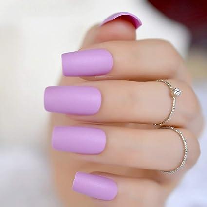 echiq Soft Purple Matte False Fake Nail Long Square Full ...