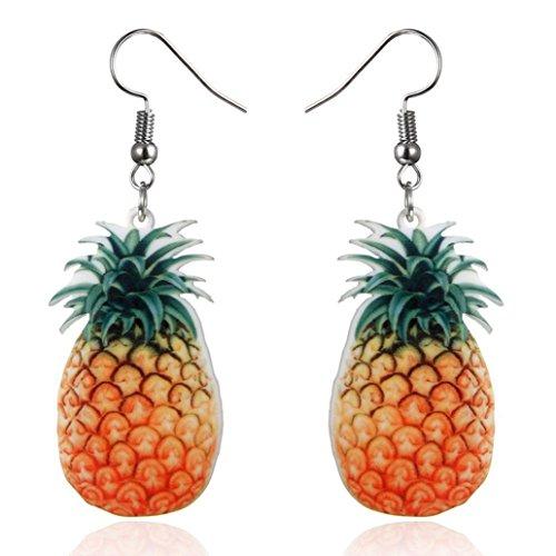 Voberry@ Earrings for Women Girls, Large Fruit Strawberry Pinefor Apple Drop Dangle Hook Earrings Jewelry Gift (B)