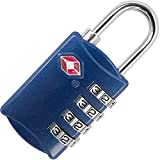 4 Digit TSA Lock - Approved Travel Padlock for Suitcases & Baggage - All Metal Construction - Blue