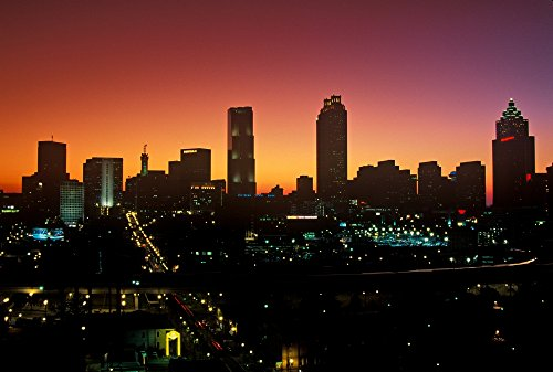 Posterazzi Skyline View at Sunset of The State Capital of Atlanta Georgia Poster Print by Panoramic Images, (36 x 24), Varies from Posterazzi