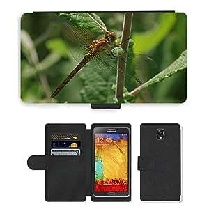 CARD POCKET BOOK CASE PU LEATHER CASE // M00148203 Libélula amarilla Libélula // Samsung Galaxy Note 3 III N9000 N9002 N9005