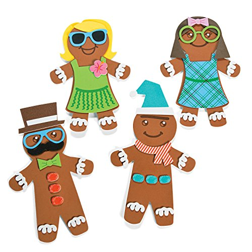 (12 Kits) Silly Gingerbread Man Magnet Craft Kits