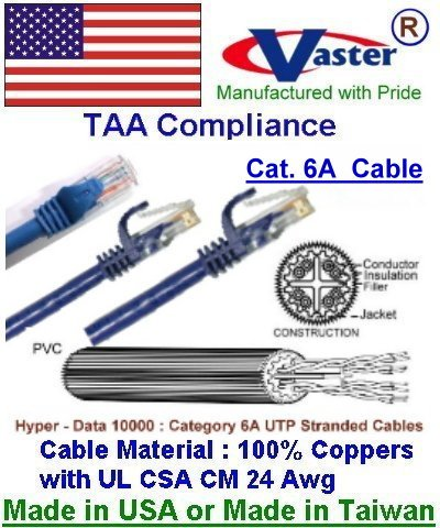100 Ft UTP CAT6A 550Mhz Patch Cable VasterCable Cat.6A Cable BLUE Color