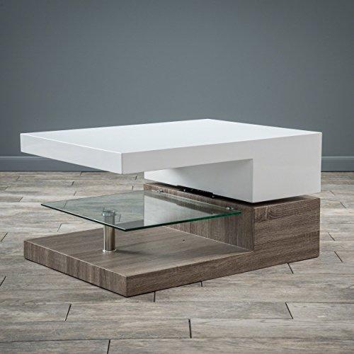 Great Deal Furniture Emerson Rectangular Mod Swivel Coffee Table w/Glass ()