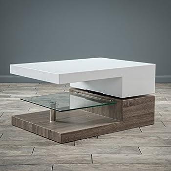 Great Deal Furniture Emerson Rectangular Mod Swivel Coffee Table w/Glass